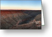 Dusk Greeting Cards - Gooseneck Canyon Greeting Card by Jane Rix