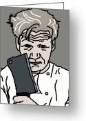 Nightmares Greeting Cards - Gordon Ramsay Greeting Card by Jera Sky