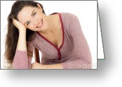 Beautiful Woman Greeting Cards - Gorgeous happy young woman Greeting Card by Johan Larson
