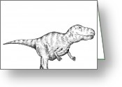 Dinosaurs Drawings Greeting Cards - Gorgosaurus - Dinosaur Greeting Card by Karl Addison