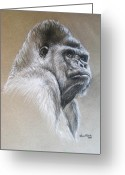 Forest Pastels Greeting Cards - Gorilla Greeting Card by Anastasis  Anastasi
