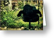 Picoftheday Greeting Cards - Gorilla Watches Over His Urban Jungle Greeting Card by Luke Kingma
