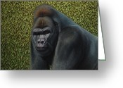 Hedge Greeting Cards - Gorilla with a Hedge Greeting Card by James W Johnson