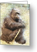 Ken Sjodin Greeting Cards - Gorilla1 Greeting Card by Ken  Sjodin