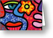 Abstract Bright Color Greeting Cards - Gossip Greeting Card by Steven Scott