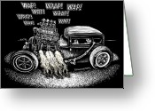 Hot Rod Drawings Greeting Cards - Got A Light Greeting Card by Bomonster