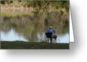 Old Man Fishing Greeting Cards - Gotcha Greeting Card by Julie Reyes