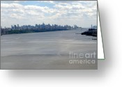 Gotham City Greeting Cards - Gotham on the Hudson Greeting Card by David Bearden