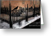 Surreal Fantasy Gothic Church Greeting Cards - Gothic Cemetery Raven Greeting Card by Kathy Fornal