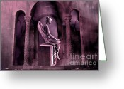 Mourner Greeting Cards - Gothic Fantasy Surreal Angel In Mourning Greeting Card by Kathy Fornal