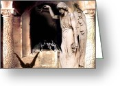Scary Surreal Fantasy Art Greeting Cards - Gothic Gargoyles and Angels Fantasy Dark Art Greeting Card by Kathy Fornal
