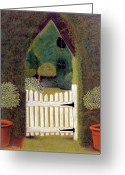 Plants Pastels Greeting Cards - Gothic Gate Greeting Card by Jan Amiss