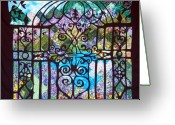 Purples Tapestries - Textiles Greeting Cards - Gothic Gate to the Garden  Greeting Card by Sarah Hornsby