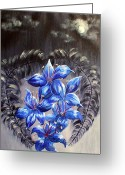 Ble Sky Greeting Cards - Gothic Lilys 1 Greeting Card by Sandy Wager