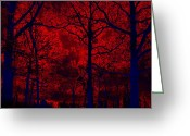 Tree Prints Greeting Cards - Gothic Red and Blue Surreal Fantasy Trees Greeting Card by Kathy Fornal