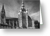 Faith Greeting Cards - Gothic Saint Vitus Cathedral in Prague Greeting Card by Christine Till