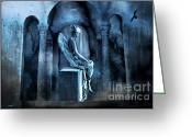 Angel Statue Greeting Cards - Gothic Surreal Angel In Mourning With Ravens Greeting Card by Kathy Fornal