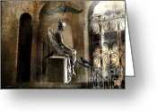 Ravens And Crows Photography Greeting Cards - Gothic Surreal Angel With Gargoyles and Ravens  Greeting Card by Kathy Fornal