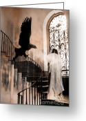 Scary Surreal Fantasy Art Greeting Cards - Gothic Surreal Grim Reaper With Large Eagle Greeting Card by Kathy Fornal