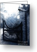 Ravens And Crows Photography Greeting Cards - Gothic Surreal Guardian Raven At Black Gate Greeting Card by Kathy Fornal