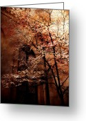 Surreal Fantasy Gothic Church Greeting Cards - Gothic Surreal Haunting Trees Church Yard Greeting Card by Kathy Fornal