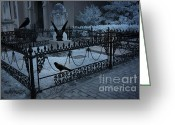 Ravens And Crows Photography Greeting Cards - Gothic Surreal Night Gargoyle and Ravens Greeting Card by Kathy Fornal