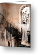 Fantasy Surreal Spooky Photography Greeting Cards - Gothic Surreal Spooky Grim Reaper On Steps Greeting Card by Kathy Fornal