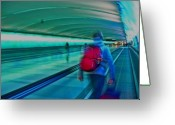 Tunnels Greeting Cards - Gotta Catch My Plane Greeting Card by Elizabeth Hoskinson