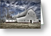 White Barns Greeting Cards - Governor Scott Dairy Farm Greeting Card by Benanne Stiens