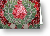 Green Print Glass Art Greeting Cards - Gr Greeting Card by Constantinos Louca