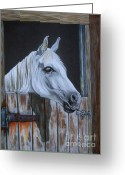 White White Horse Pastels Greeting Cards - Grace at the stable door Greeting Card by Yvonne Johnstone