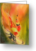 Fish Pond Painting Greeting Cards - Grace Greeting Card by Robert Hooper