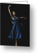 Pointe Greeting Cards - Graceful Dancer in Blue Greeting Card by Richard Young