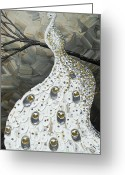 Albino Peacock Greeting Cards - Graceful Elegance White Peacock Greeting Card by Christine Krainock
