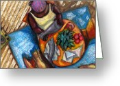 Black Art Greeting Cards - GraceWork Fish Greeting Card by Janie McGee