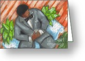 Black Art Greeting Cards - GraceWork Proposal Greeting Card by Janie McGee