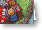 Black Art Greeting Cards - GracewWork Picnic Greeting Card by Janie McGee