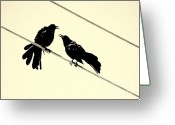 Talking Birds Greeting Cards - Grack Pecked Greeting Card by Joe JAKE Pratt