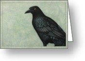 Raven Drawings Greeting Cards - Grackle Greeting Card by James W Johnson