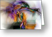 Abstract Contemporary Art Greeting Cards - Graffiti - Fractal Art Greeting Card by NirvanaBlues  