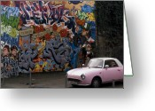 Signature Photo Greeting Cards - Graffiti and the Pink Car. Greeting Card by Mike Lester