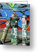 Nyc Graffiti Greeting Cards - Graffiti Fire on Blue Greeting Card by adSpice Studios