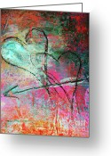 Wall Art Mixed Media Greeting Cards - Graffiti Hearts Greeting Card by Anahi DeCanio