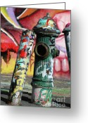 Graffiti Art For The Home Greeting Cards - Graffiti Hydrant on Red Greeting Card by AdSpice Studios