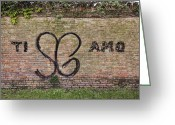 Green Tag Greeting Cards - Graffiti on Brick Wall Greeting Card by Andersen Ross