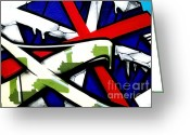 Green Tag Greeting Cards - Graffiti red cross Greeting Card by Richard Thomas