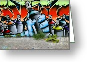 Tag Art Greeting Cards - Graffiti spray cans Greeting Card by Richard Thomas