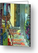 Wall Art Mixed Media Greeting Cards - Graffiti Steps Wall Art Greeting Card by adSpice Studios