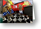 Board Fence Greeting Cards - Graffiti. The Chess Player. Greeting Card by Mike Lester