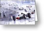 Hill Painting Greeting Cards - Graham Hill BRM P261 Belgian GP 1965 Greeting Card by Yuriy  Shevchuk